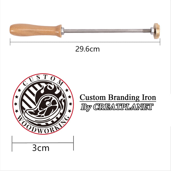 Custom Wood Branding Iron with Brass Head, for Cake/Wood/Leather, Oven and Steak Pattern, 30mm
