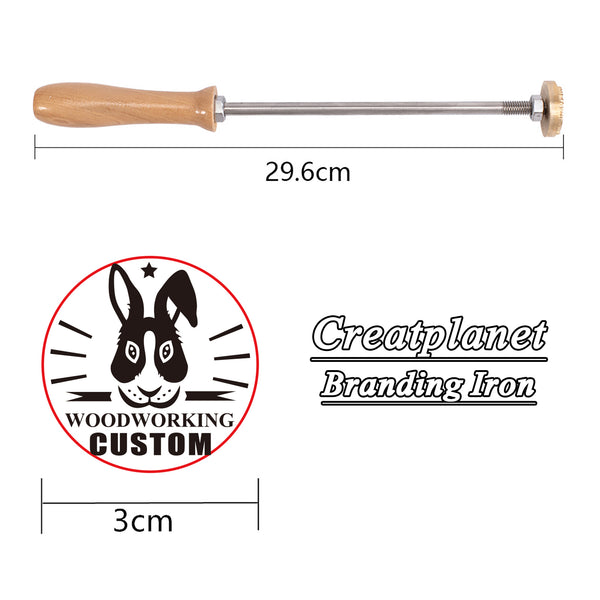 Custom Wood Branding Iron with Brass Head-rabbit