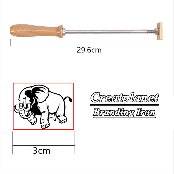 Wood Branding Iron with Brass Head, for Cake/Wood/Leather, Golden, Elephant Pattern, 30mm