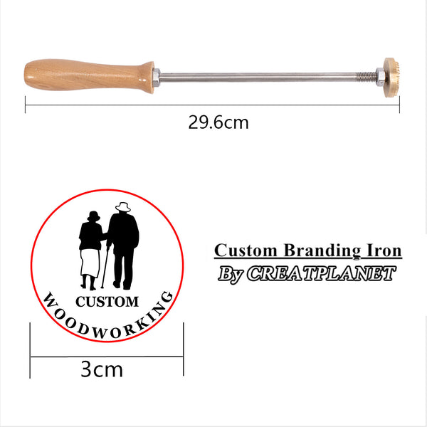 Custom Wood Branding Iron with Brass Head, for Cake/Wood/Leather, Couples Pattern, 30mm