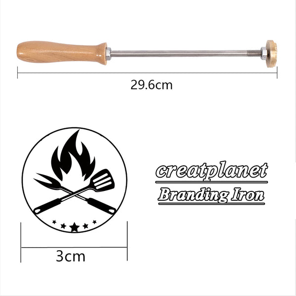 Wood Branding Iron with Brass Head-bbq