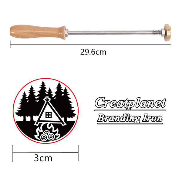 Wood Branding Iron with Brass Head-Tent and forest