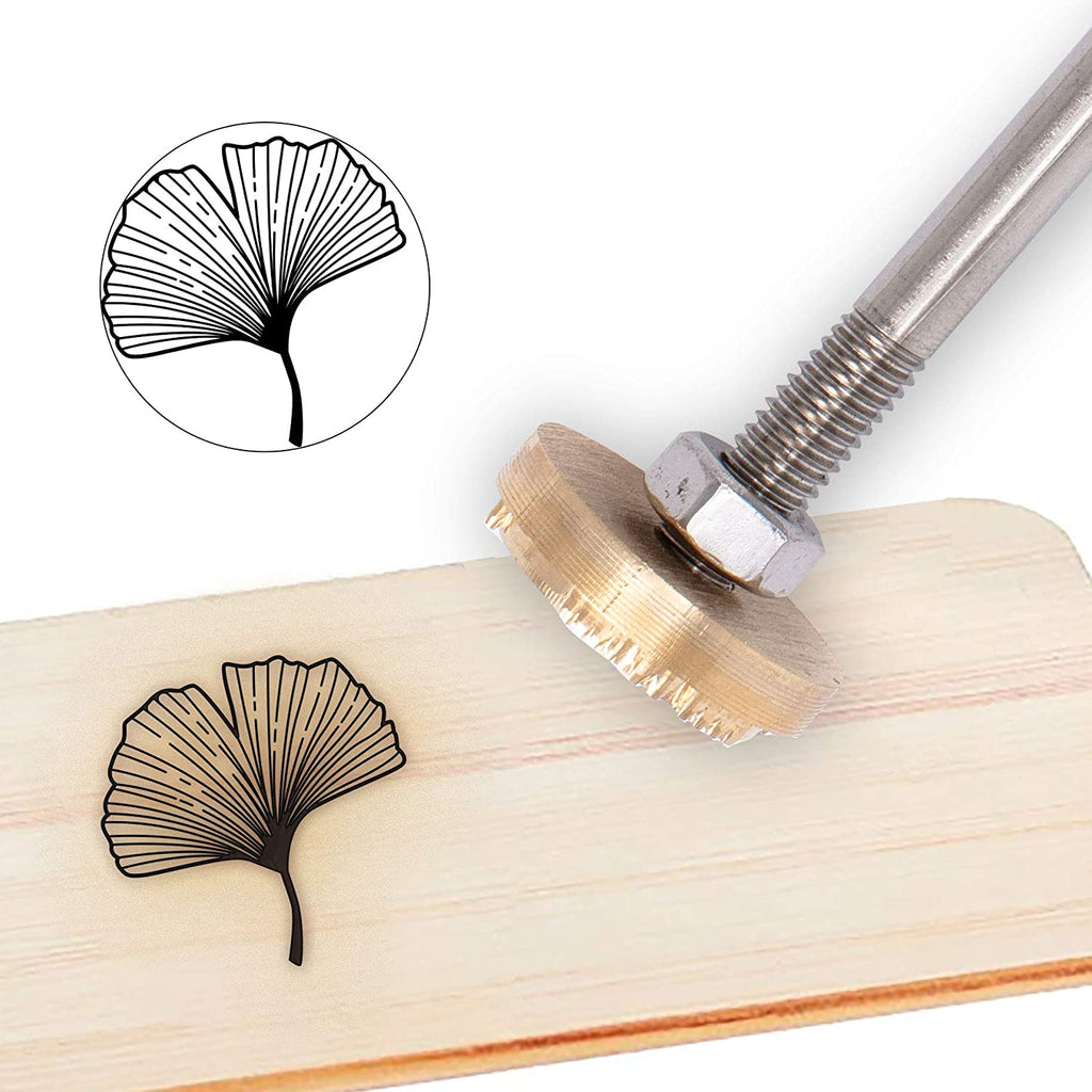Wood Branding Iron with Brass Head and Wood Handle- Ginkgo Leaf