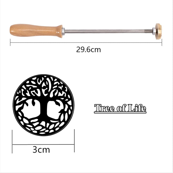 Wood Branding Iron with Brass Head and Wood Handle- Tree of Life