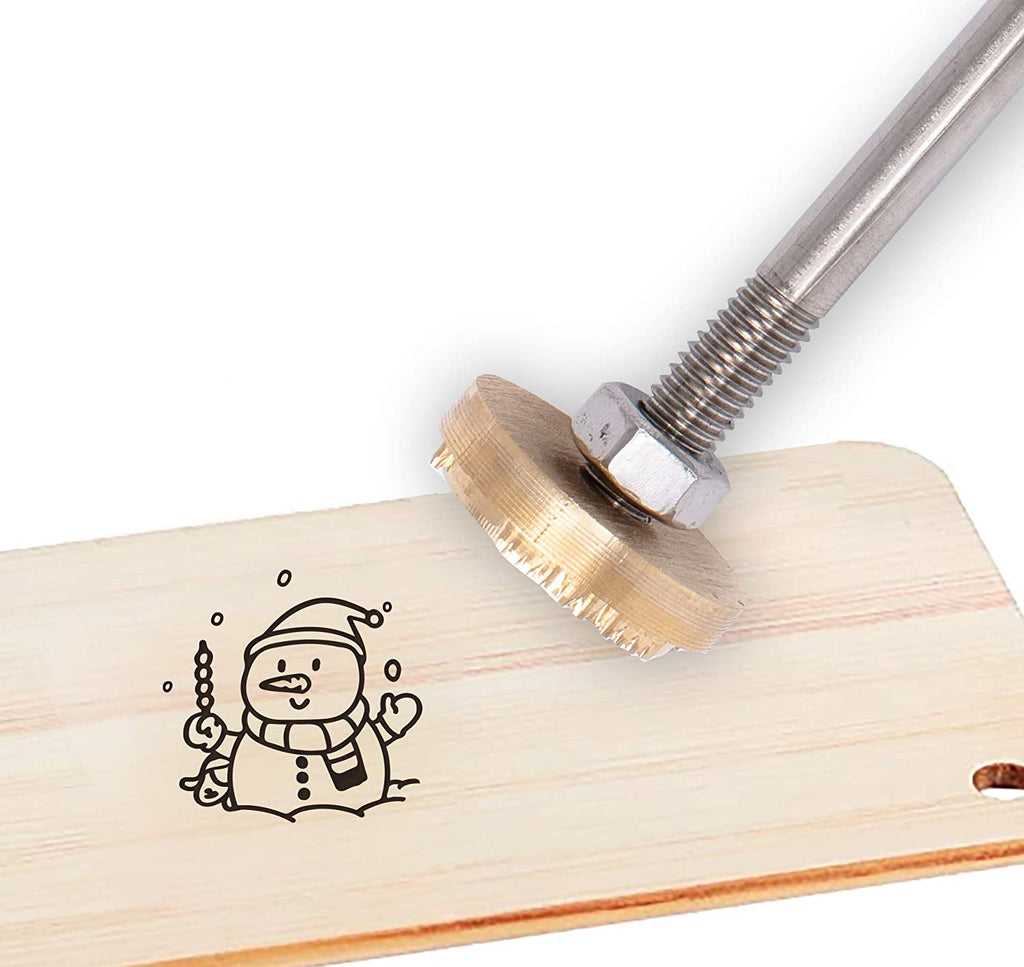 Wood Branding Iron with Brass Head and Wood Handle- Snowman
