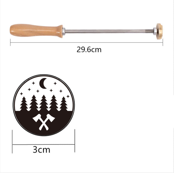 Wood Branding Iron with Brass Head-Tree and moon