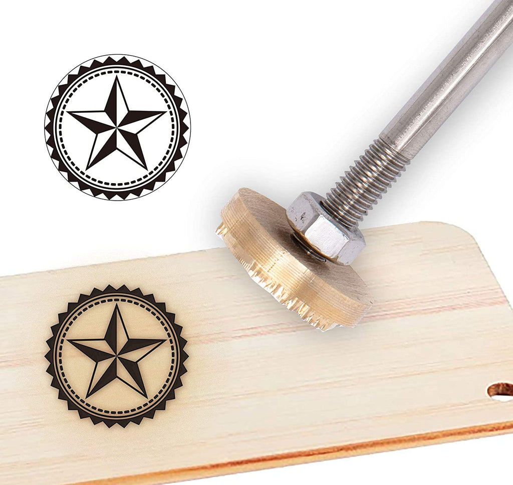 Wood Branding Iron with Wood Handle- Five-Pointed Star