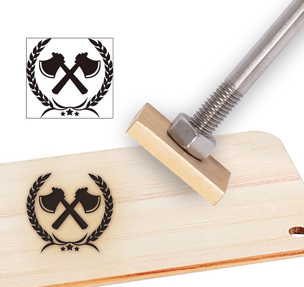 Wood Branding Iron with Wood Handle- Ear of Wheat