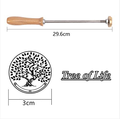 Wood Branding Iron with Wood Handle- Tree of Life