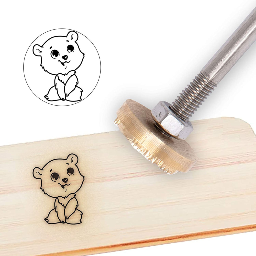 Wood Branding Iron with Wood Handle- Cartoon Bear