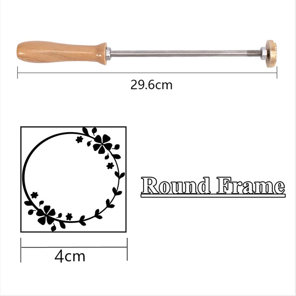 Wood Branding Iron with Brass Head and Wood Handle- Round Frame