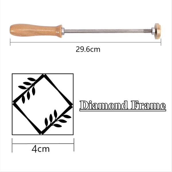 Wood Branding Iron with Brass Head and Wood Handle- Diamond Frame