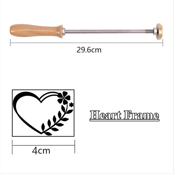 Wood Branding Iron with Brass Head and Wood Handle- Heart Frame