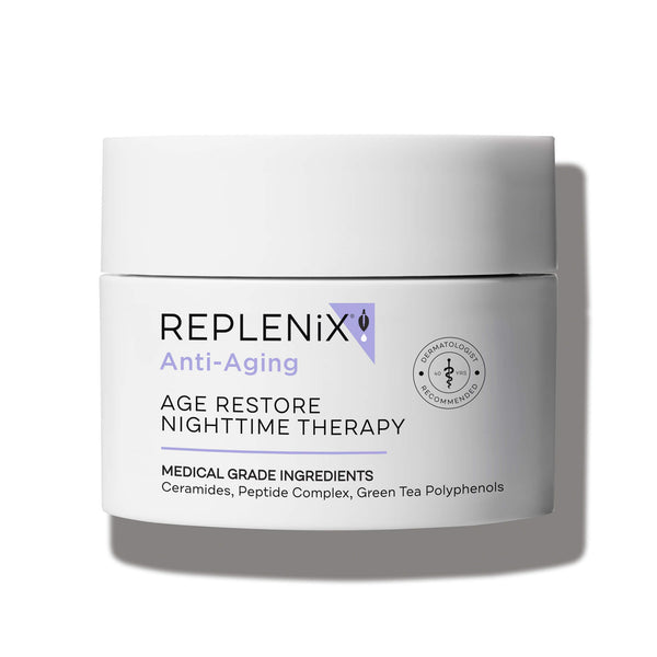 Image of white container | Age Restore Nighttime Therapy | Anti-Aging | Replenix