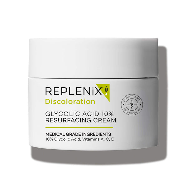 Image of white container | Glycolic Acid 10% Resurfacing Cream | Discoloration | Replenix
