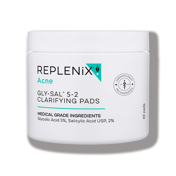 Image of white container | Glycolic Acid 5%, Salicylic Acid 2% Clarifying Pads | Replenix