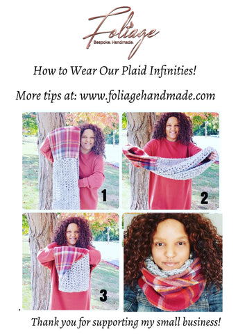 How to wear a plaid, mixed media scarf made by Foliage