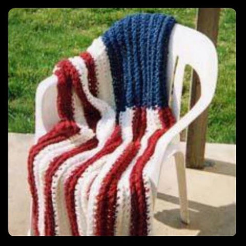 Crotchet Knitted American Flag Afghan Americana, Patriot, New Hampshire