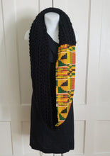 Load image into Gallery viewer, Kente Print Scarf with HandKnit Fabric