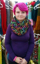 Load image into Gallery viewer, Crocheted Neon Bright Color Infinity Scarf by Black Pearl Creations