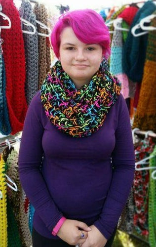 Crocheted Neon Bright Color Infinity Scarf by Black Pearl Creations