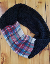 Load image into Gallery viewer, Black and Tartan Scarf by Black Pearl Creations