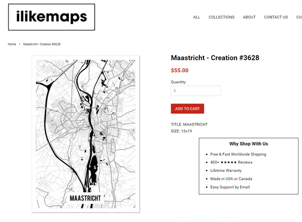 Custom Map Product Page