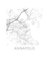 Annapolis Map Black and White Print - maryland Black and White Map Print