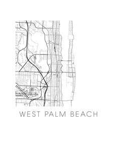 West Palm Beach Map Black and White Print - florida Black and White Map Print