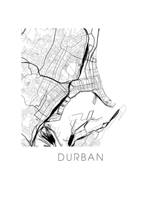Durban Map Black and White Print - south africa Black and White Map Print