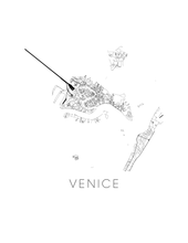 Venice Map Black and White Print - italy Black and White Map Print
