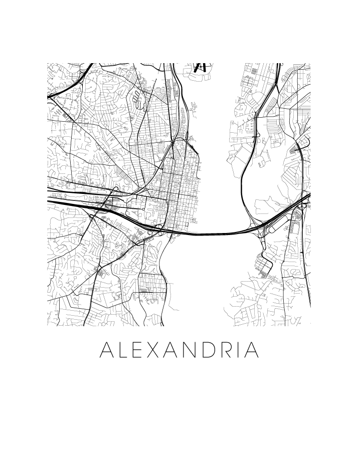 Alexandria VA Map Black and White Print - virginia Black and White Map Print