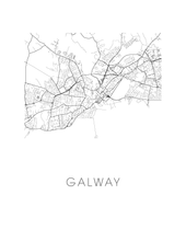 Galway Map Black and White Print - ireland Black and White Map Print