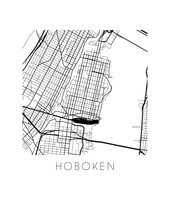 Hoboken Map Black and White Print - new jersey Black and White Map Print