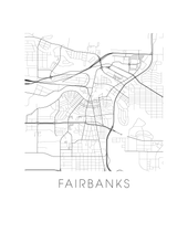 Fairbanks Map Black and White Print - alaska Black and White Map Print