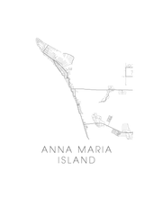 Anna Maria Island Map Black and White Print - florida Black and White Map Print