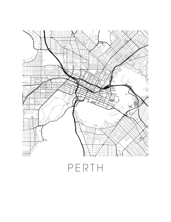 Map Australia Perth.Perth Map Black And White Print Australia Black And White Map