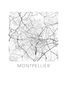 Montpellier Map Black and White Print - france Black and White Map Print