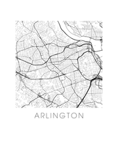 Arlington VA Map Black and White Print - virginia Black and White Map Print
