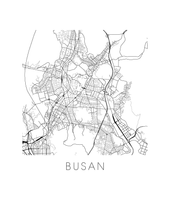 Busan Map Black and White Print - south korea Black and White Map Print