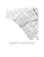 Santa Monica Map Black and White Print - california Black and White Map Print
