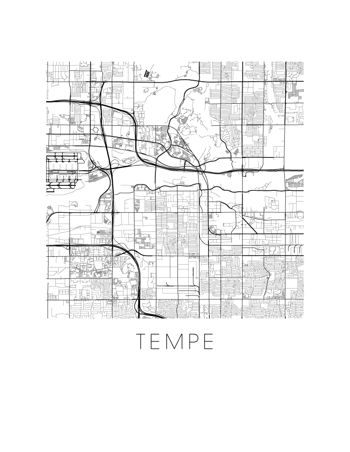 Map Of Arizona Only.Tempe Az Map Black And White Print Arizona Black And White Map Print