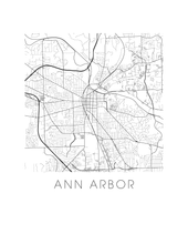 Ann Arbor Map Black and White Print - michigan Black and White Map Print