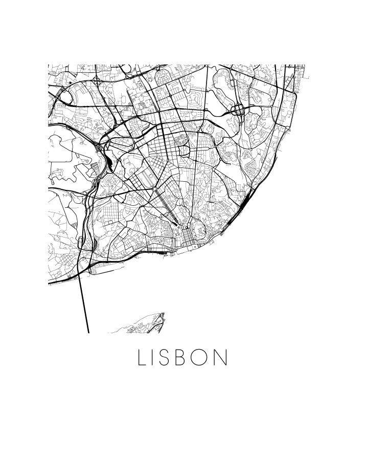 Lisbon Map Black And White Print Portugal Black And White Map - Portugal map to print
