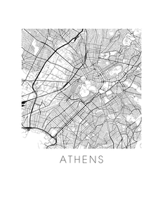 Athens Map Black and White Print - greece Black and White Map Print