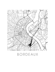 Bordeaux Map Black and White Print - France Black and White Map Print