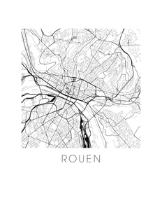 Rouen Map Black and White Print - france Black and White Map Print