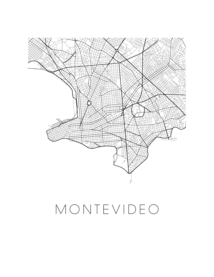Montevideo Map Black And White Print Uruguay Black And White Map - Montevideo map