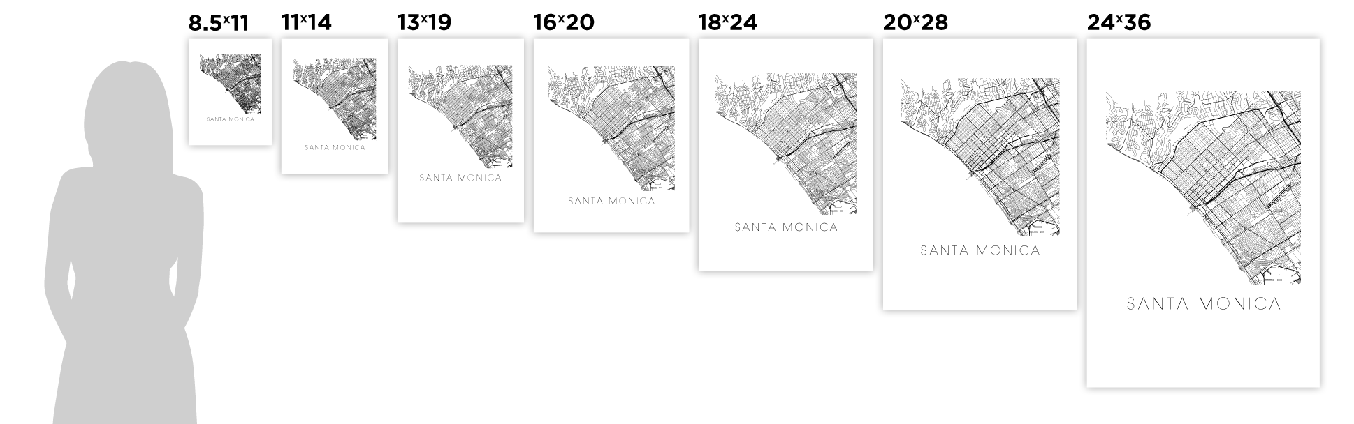 Santa Monica Map Black And White