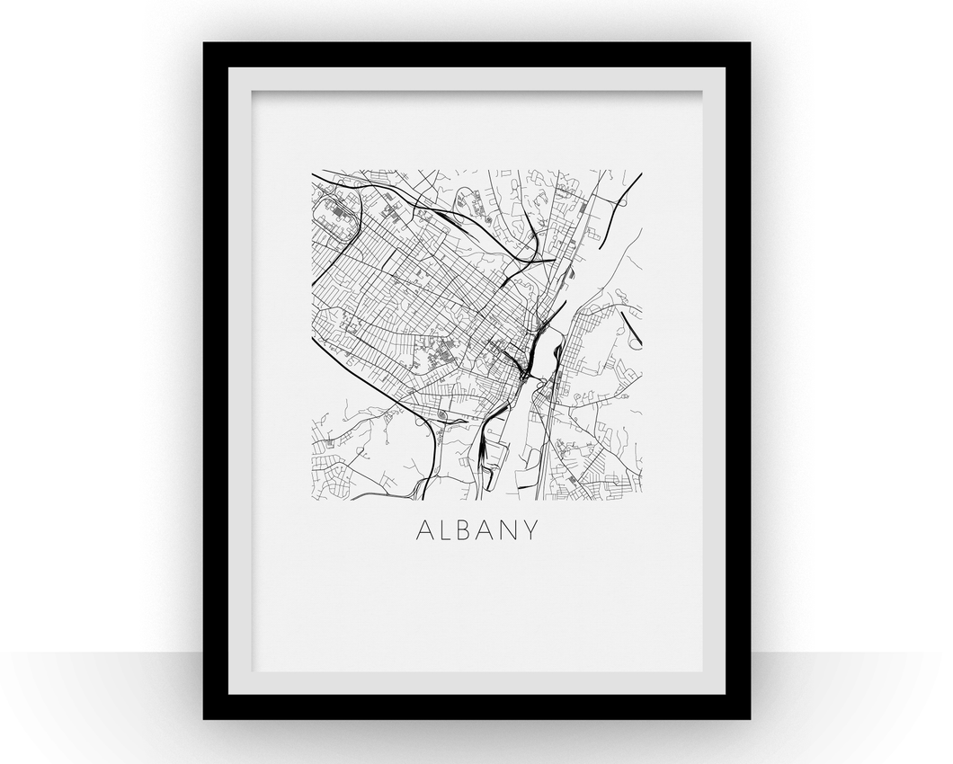 Albany Map Black and White Print - new york Black and White Map Print